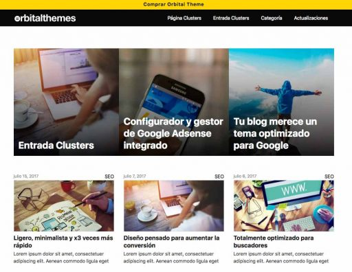actualizaciones Orbital Theme, la mejor plantilla Wordpress