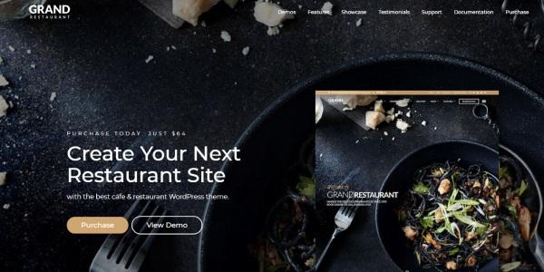 Las mejores plantillas de WordPress Premium: grand restaurant